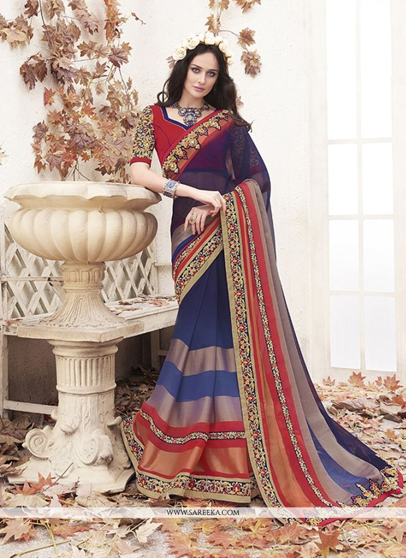 Viscose Navy Blue Embroidered Work Designer Saree