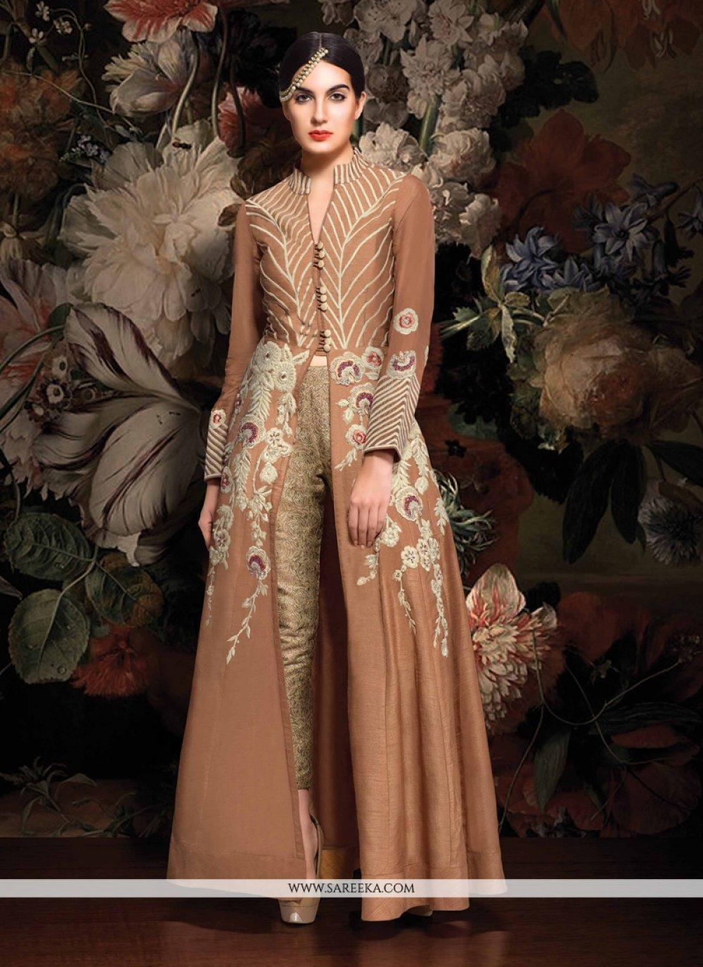 Brown Resham Work Designer Suit