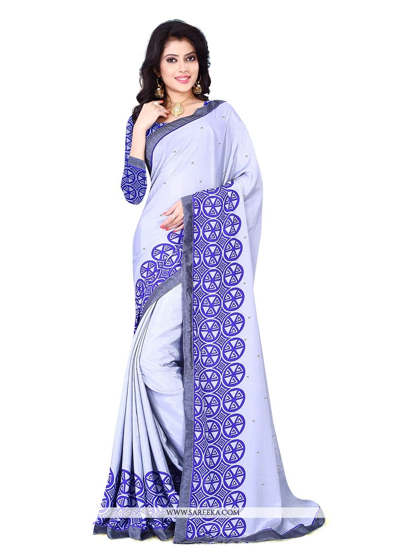 Chiffon Satin Patch Border Work Casual Saree