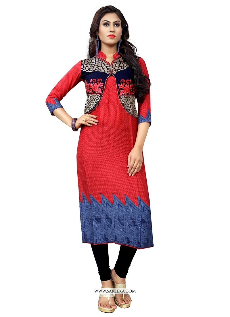 Embroidered Work Red Cotton   Party Wear Kurti