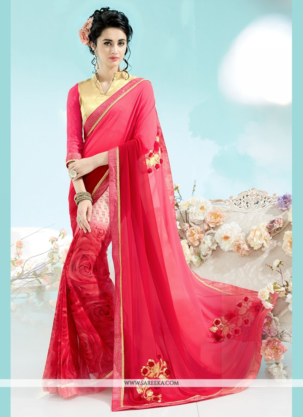 Hot Pink Georgette Casual Saree