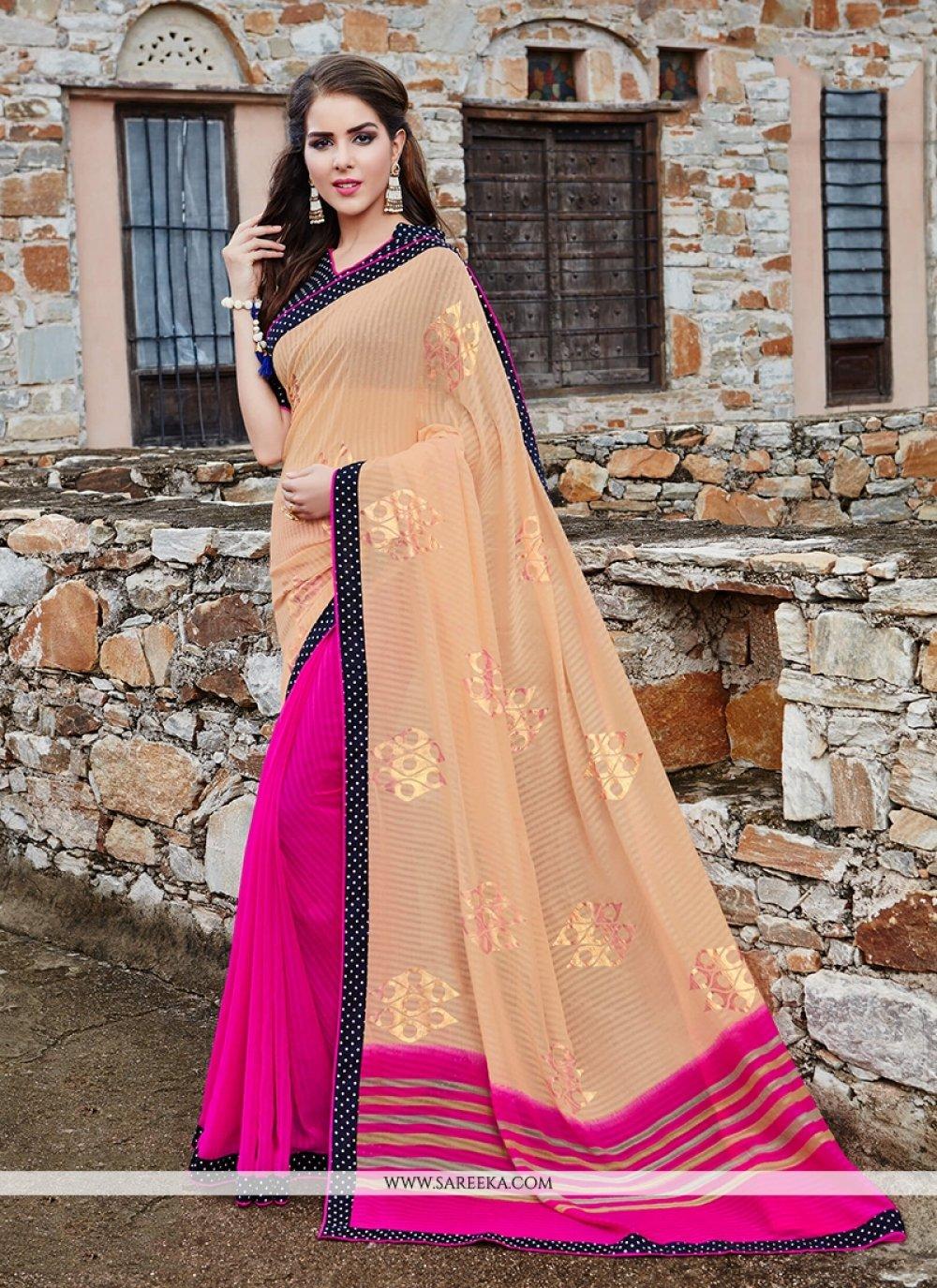 Patch Border Work Hot Pink Classic Saree