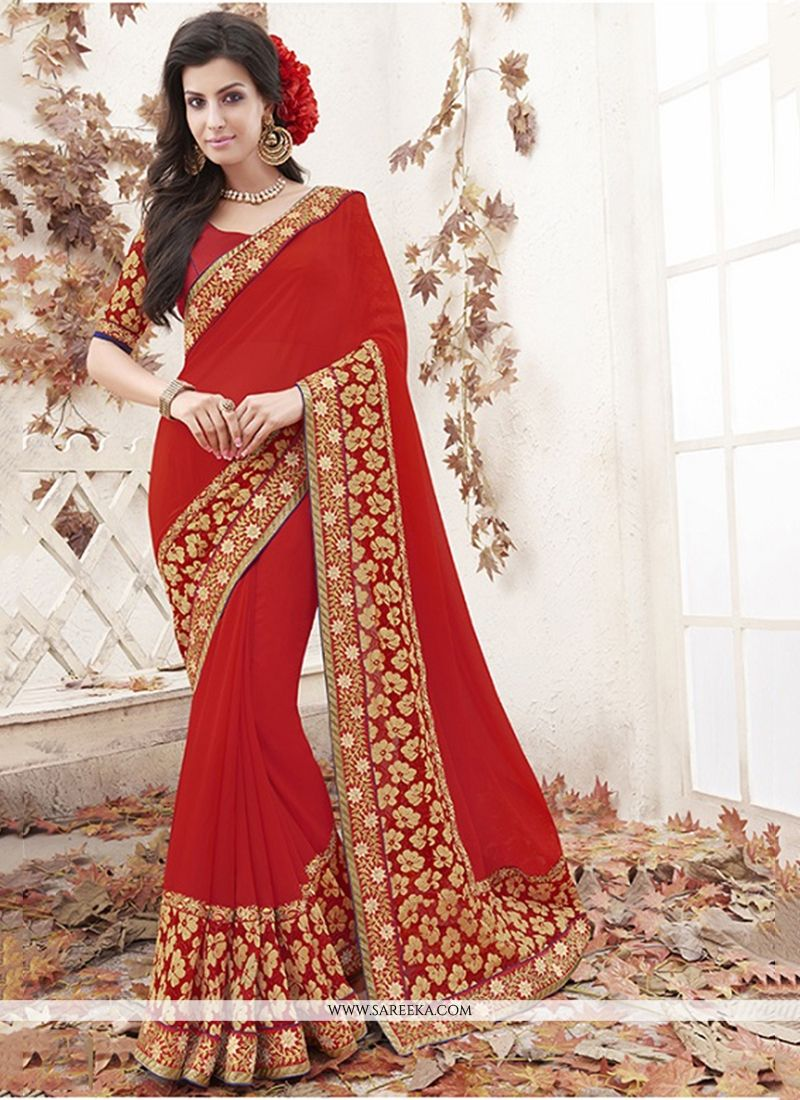 Patch Border Work Jacquard Designer Saree