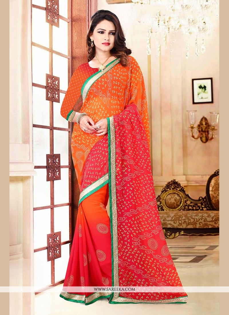 Orange and Red Print Work Casual Saree