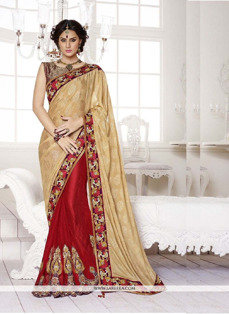 Red Patch Border Work Faux Crepe Classic Designer Saree