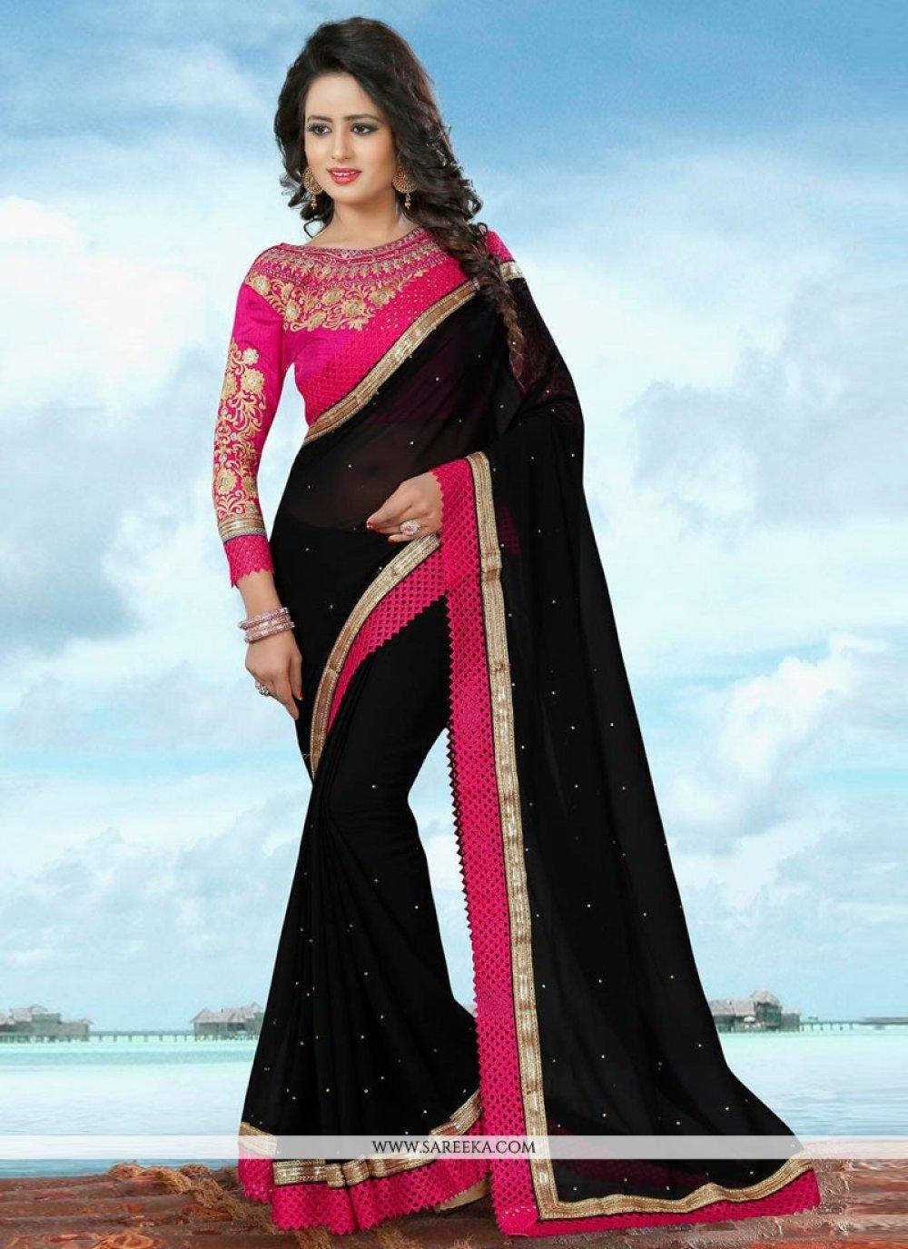 Banglori Silk Black Patch Border Work Classic Saree