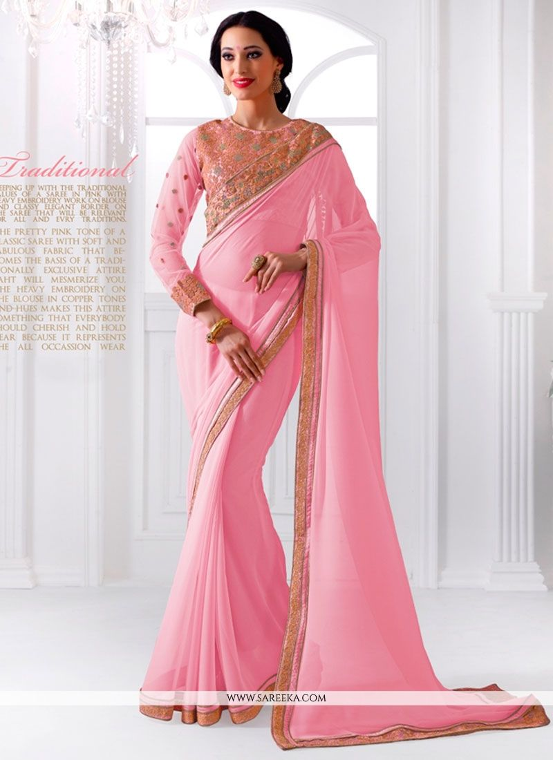 Embroidered Work Pink Georgette Designer Saree