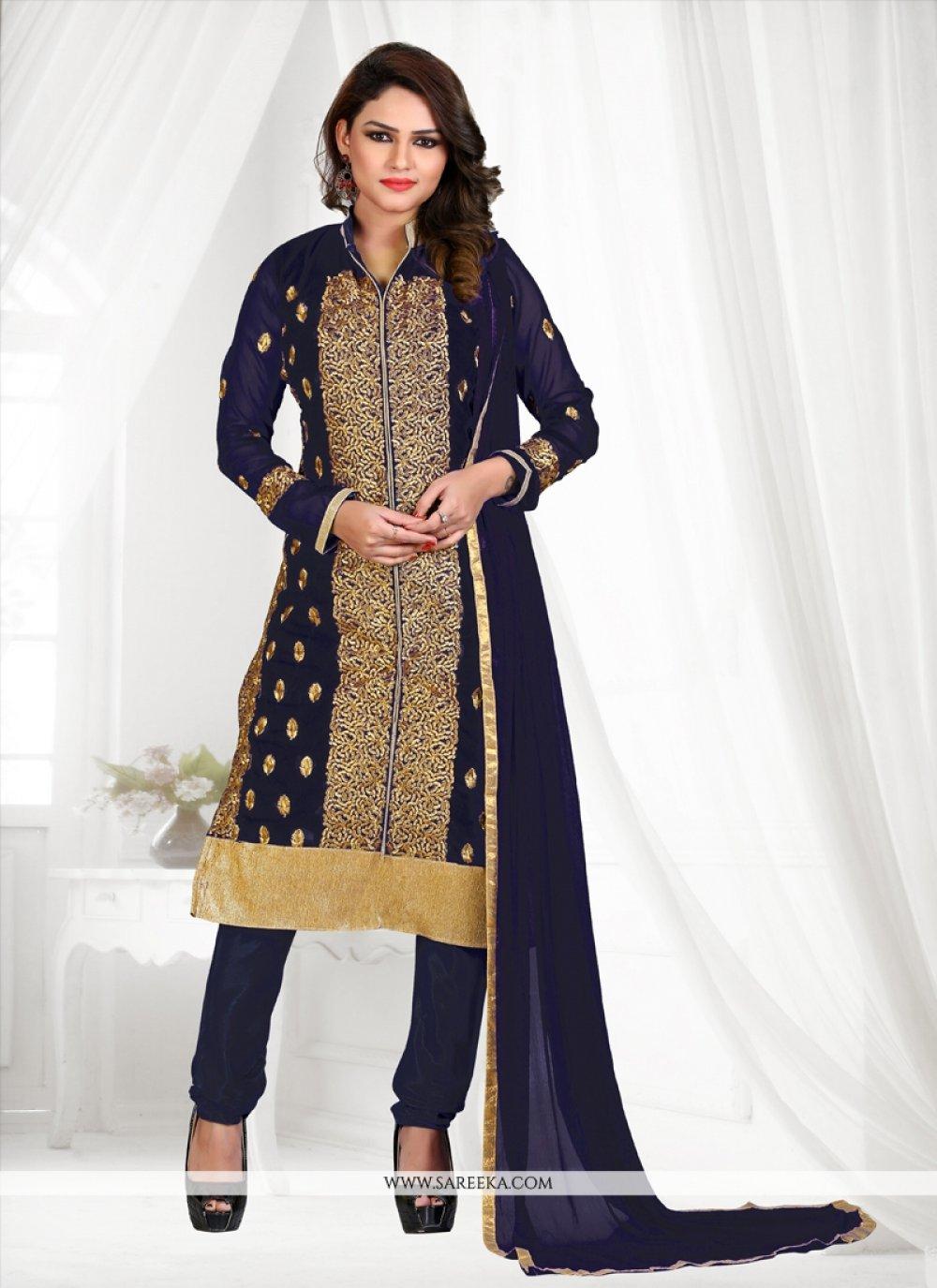 Georgette Navy Blue Embroidered Work Churidar Suit