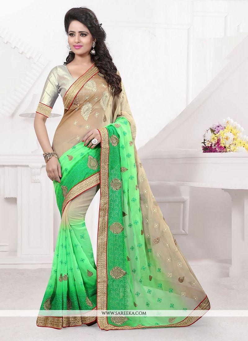 Green Embroidered Work Faux Chiffon Classic Designer Saree