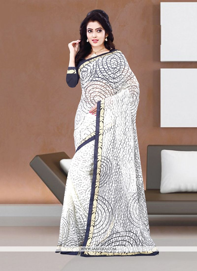Handloom silk Off White Casual Saree