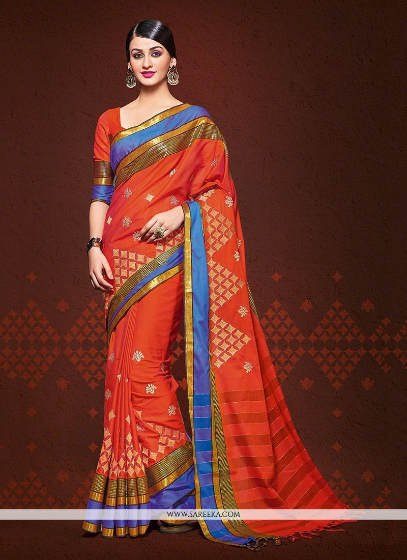 Handloom silk Orange Patch Border Work Designer Saree