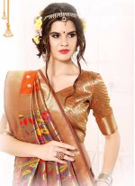 Orange Patch Border Work Banarasi Silk Classic Designer Saree