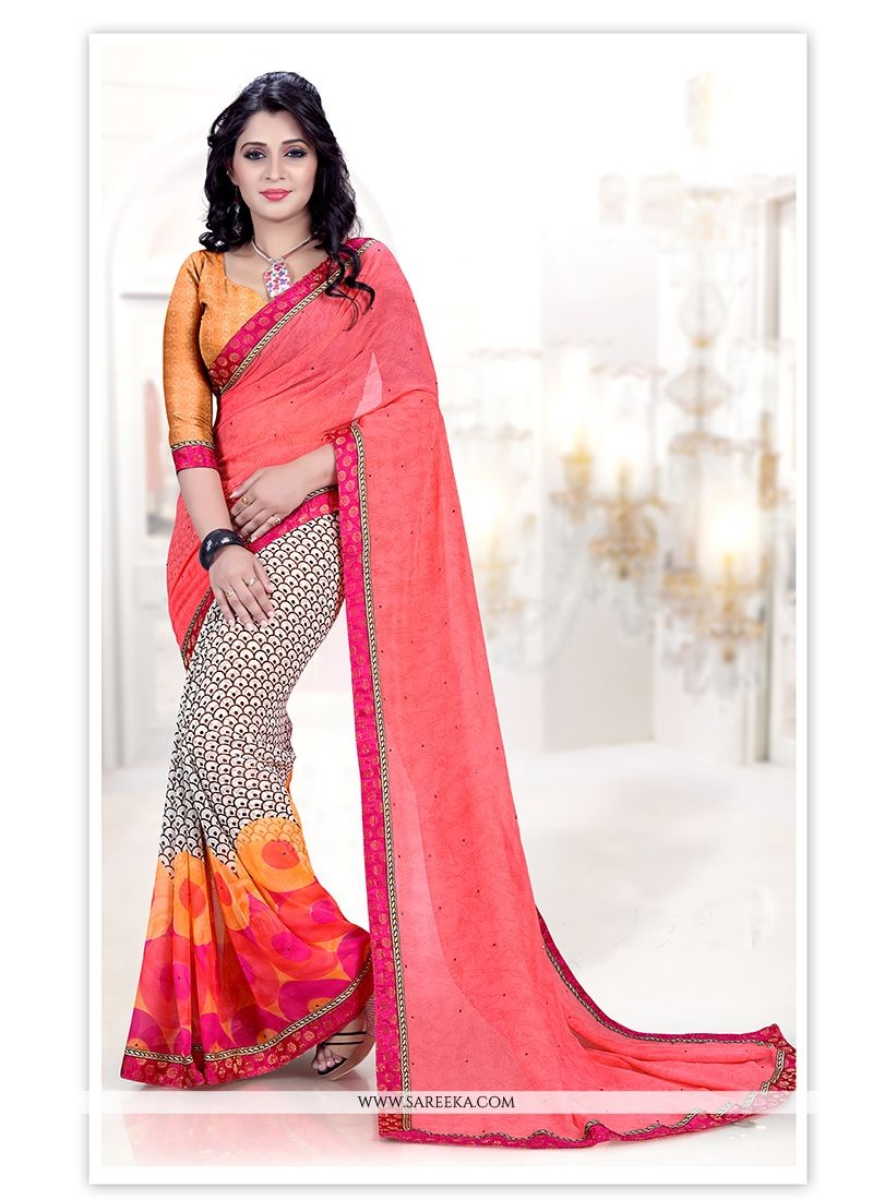Multi Colour Print Work Casual Saree