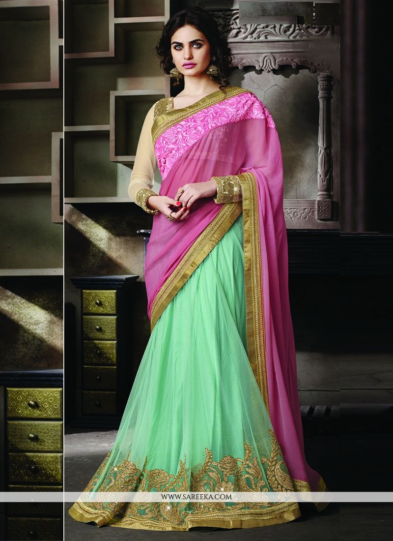 Patch Border Work Pink and Sea Green Lehenga Saree