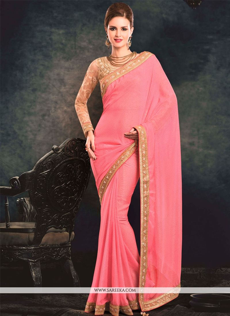 Patch Border Work Pink Faux Chiffon Classic Designer Saree