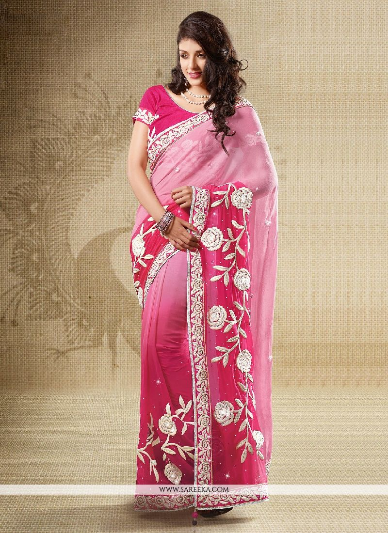 Viscose Hot Pink Embroidered Work Designer Saree