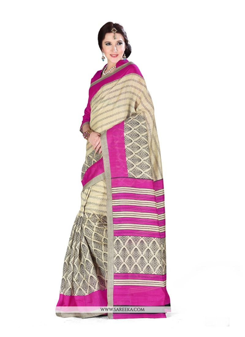 Print Art Silk Casual Saree in Cream and Hot Pink
