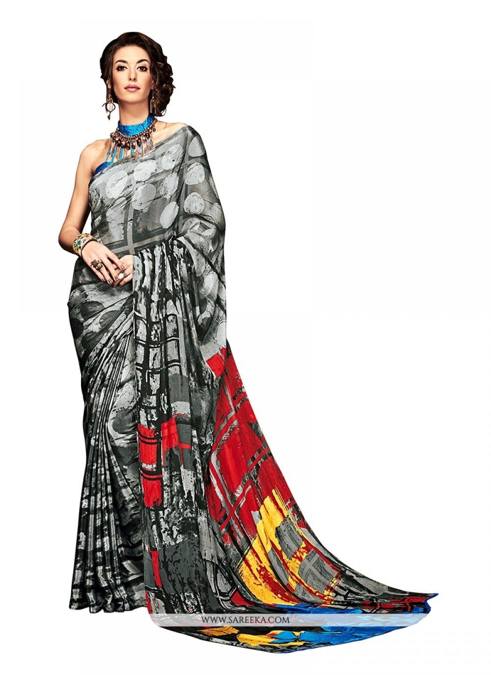 Print Crepe Silk Casual Saree in Multi Colour