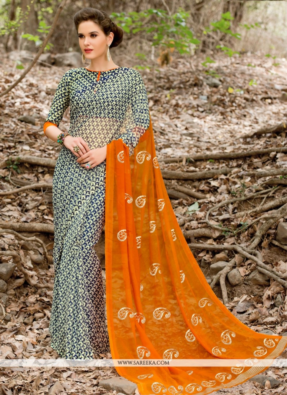 Print Faux Chiffon Casual Saree in Grey