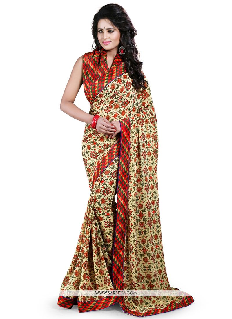 Print Georgette Casual Saree in Multi Colour