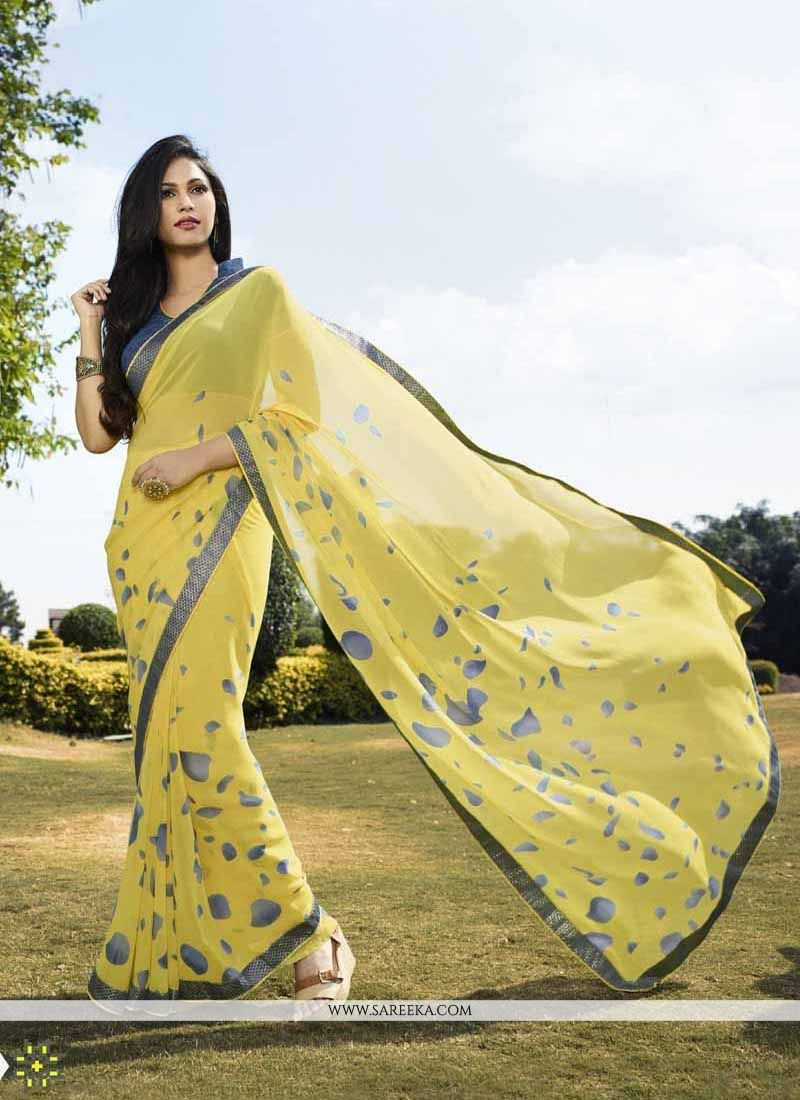 Print Georgette Casual Saree in Yellow