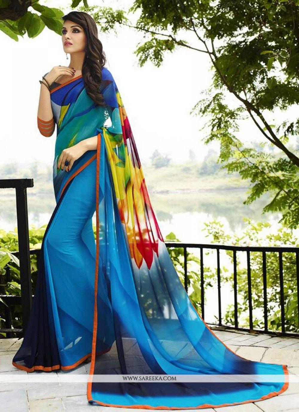 Print Georgette Designer Saree in Blue