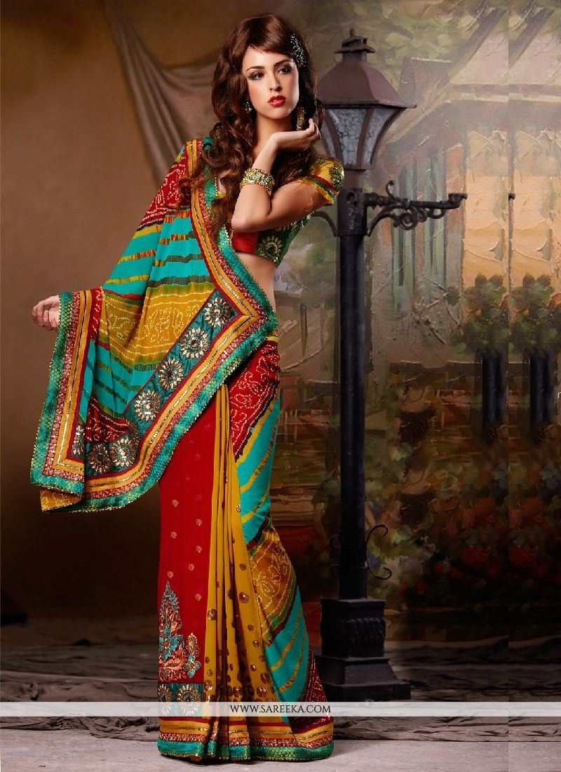 Print Georgette Designer Saree in Multi Colour