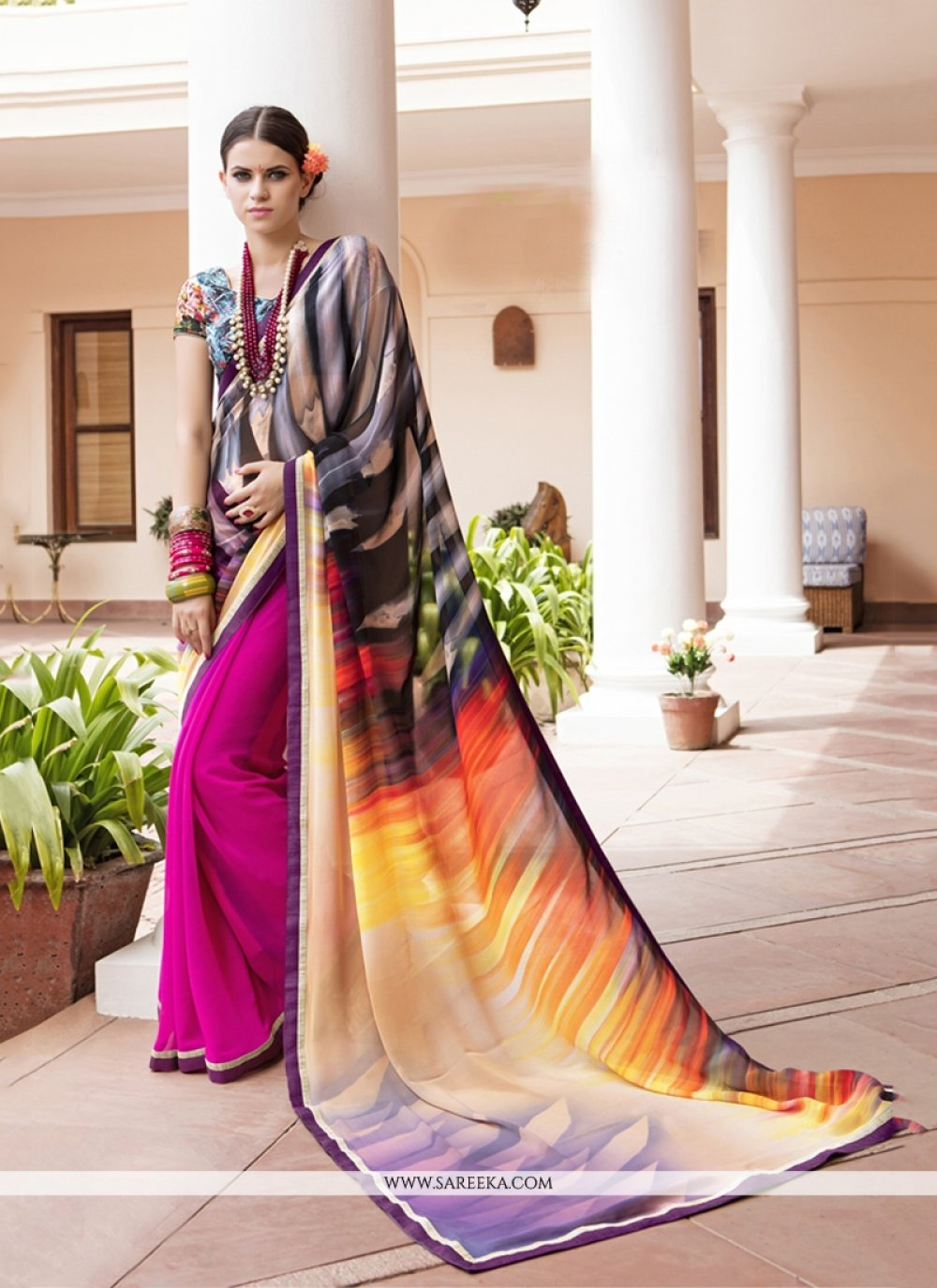 Print Georgette Printed Saree in Multi Colour