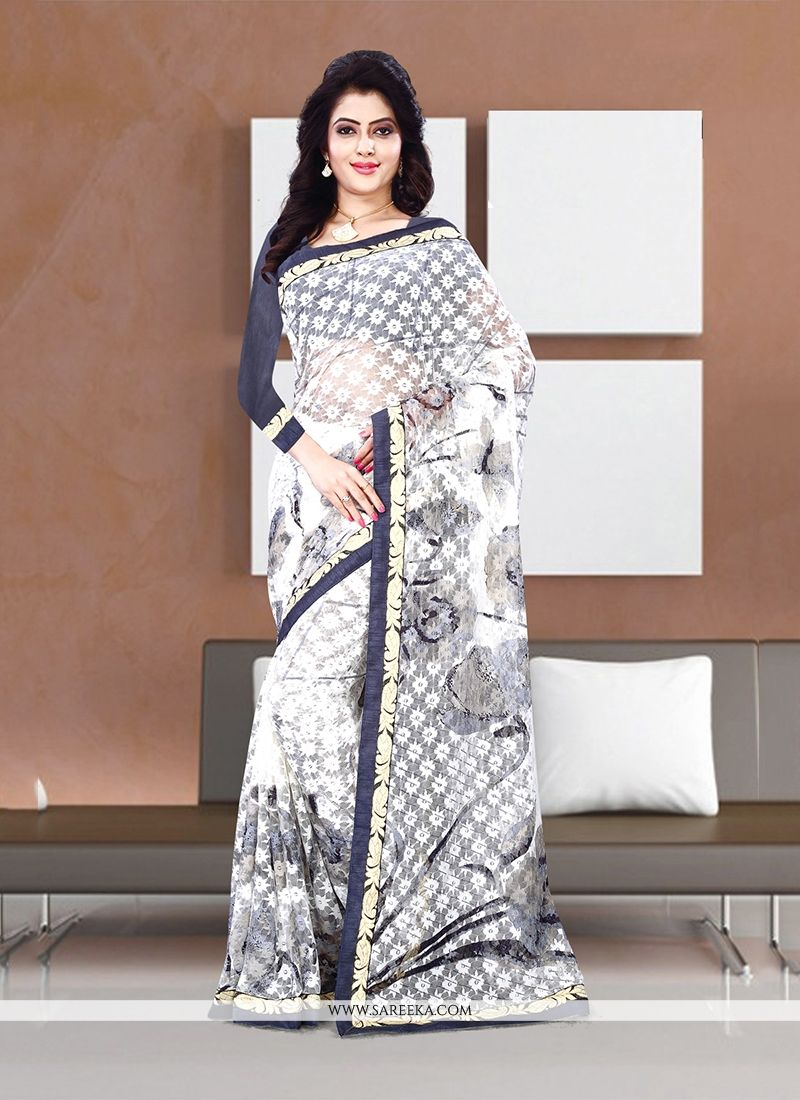 Print Handloom silk Casual Saree in Off White