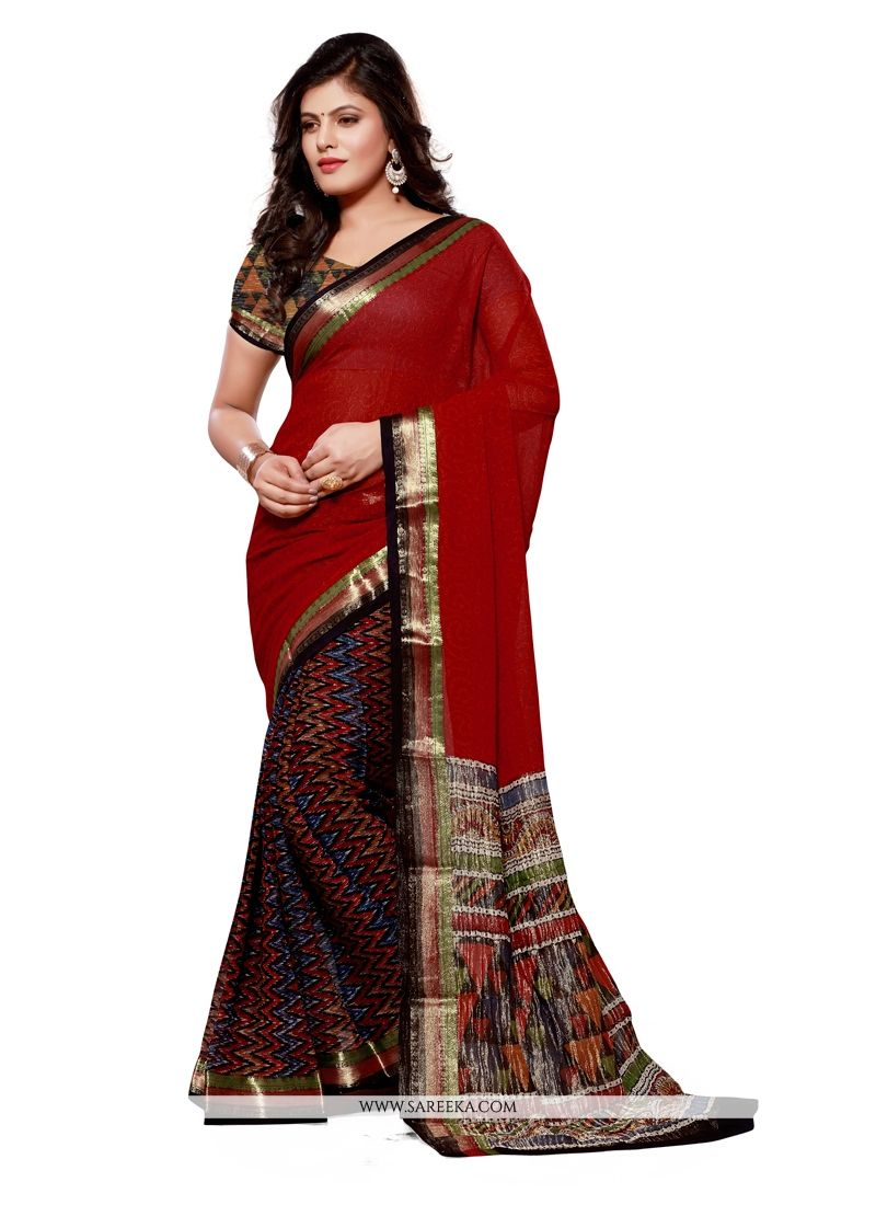 Print Jacquard Designer Saree in Multi Colour