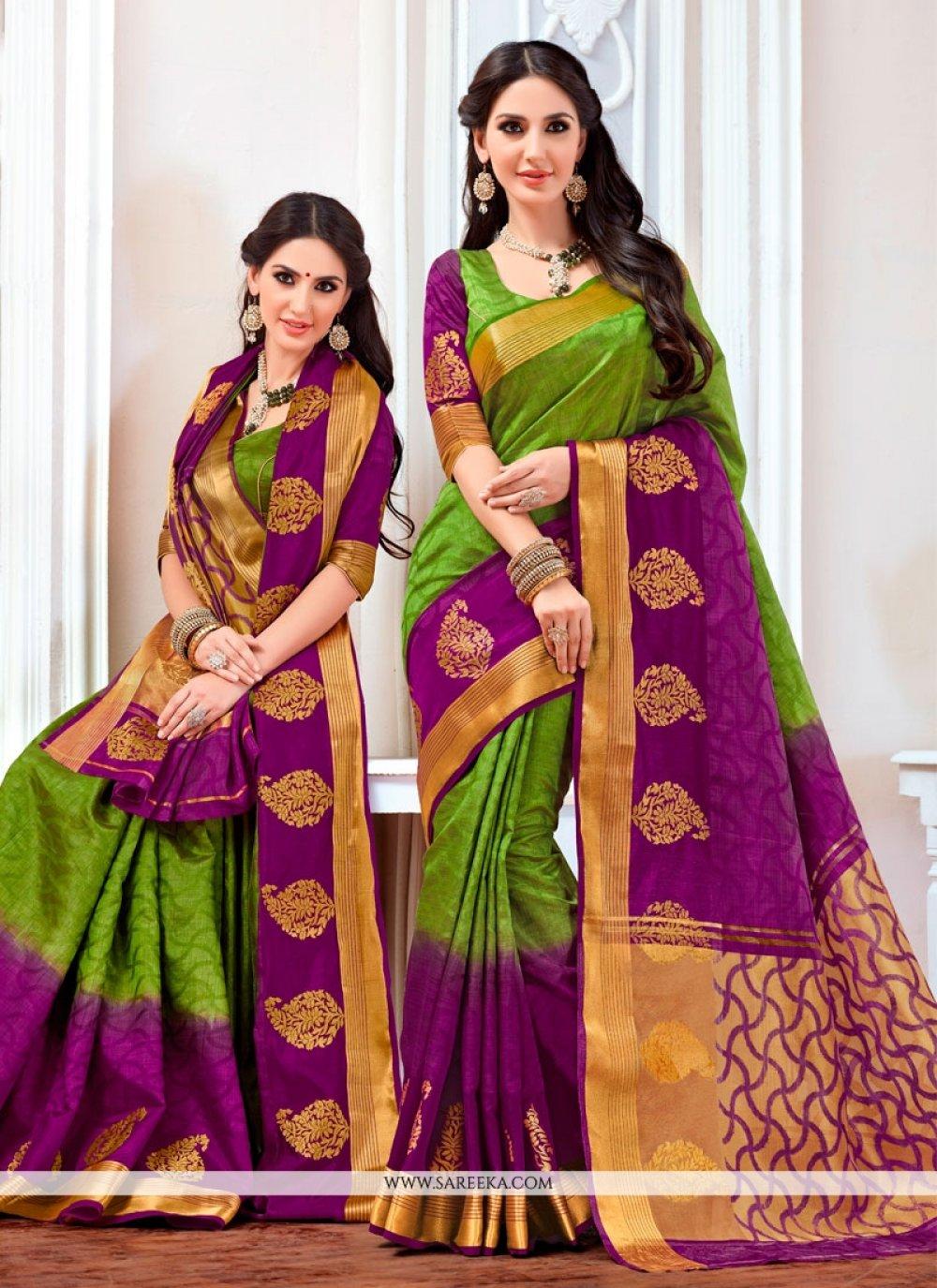 Print Jacquard Designer Saree in Multi Colour