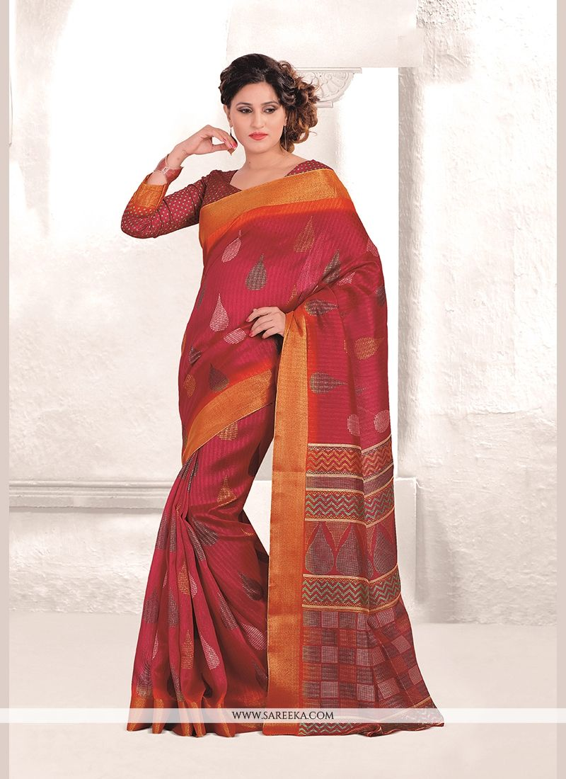 Print Mysore Udyog Casual Saree in Red