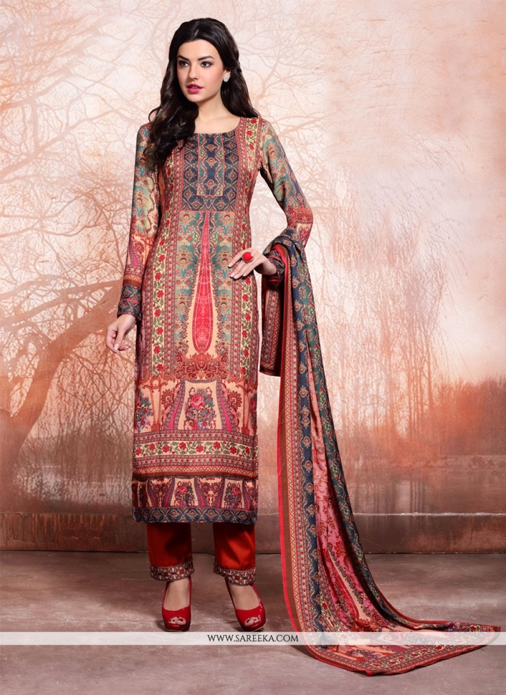 Print Rayon Pant Style Suit in Multi Colour