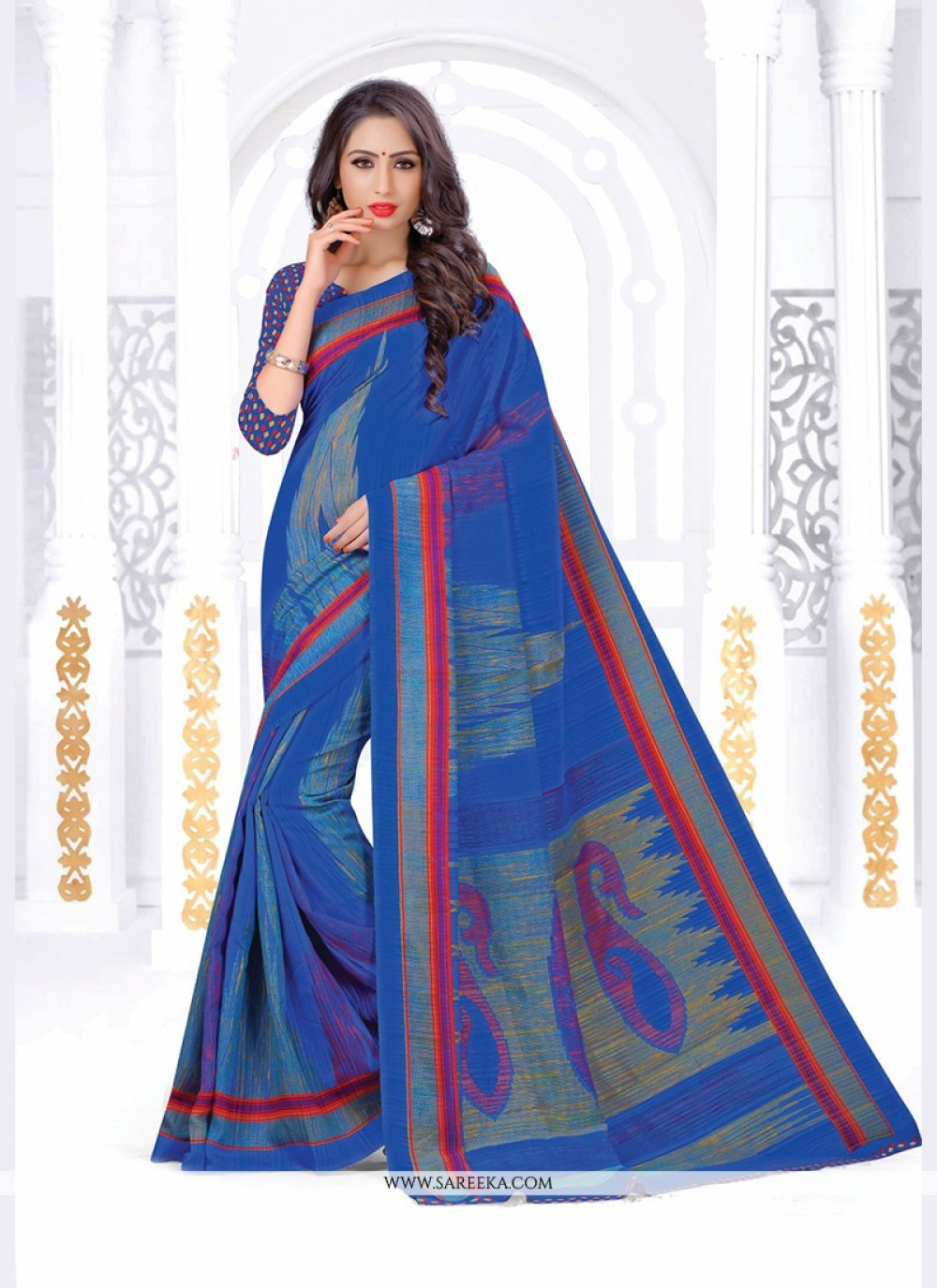 Print Silk Casual Saree in Blue