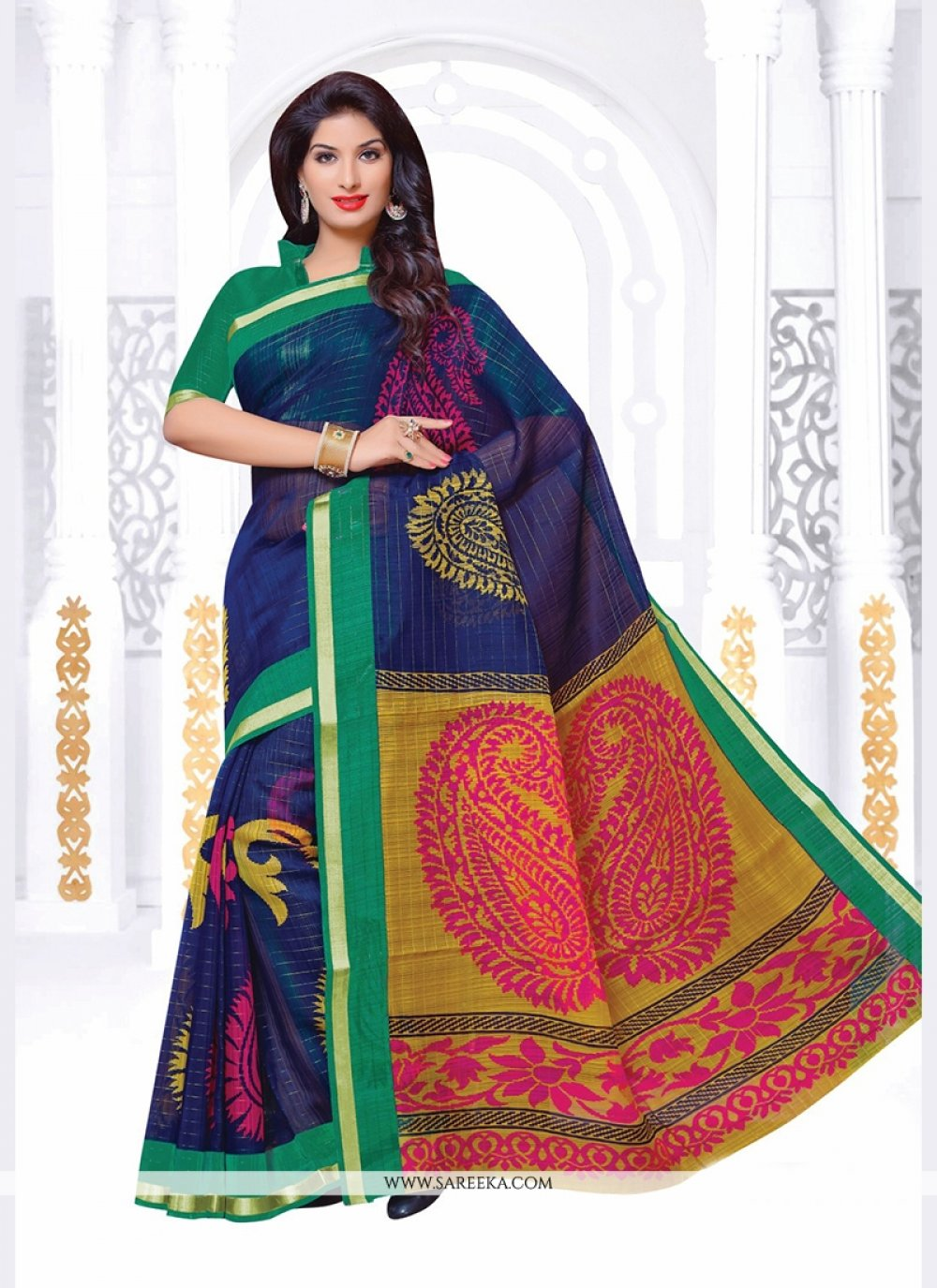Print Silk Casual Saree in Navy Blue
