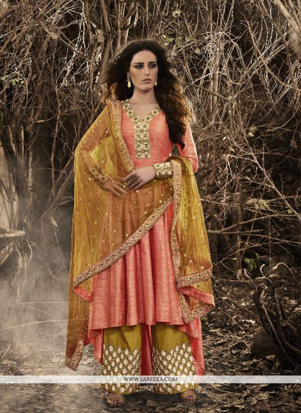 Bhagalpuri Silk Mustard and Rose Pink Resham Work Designer Palazzo Salwar Kameez