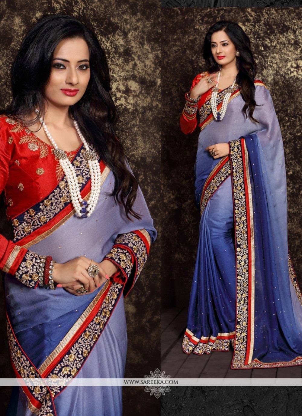 Blue Chiffon Satin Designer Saree