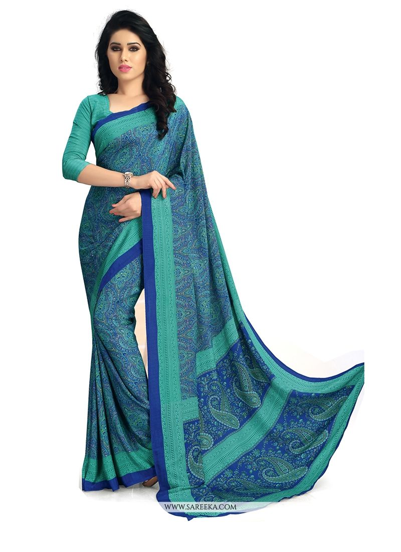 Faux Crepe Blue Print Work Casual Saree