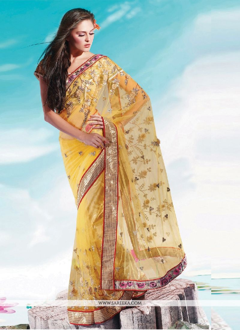 Net Yellow Embroidered Work Designer Saree