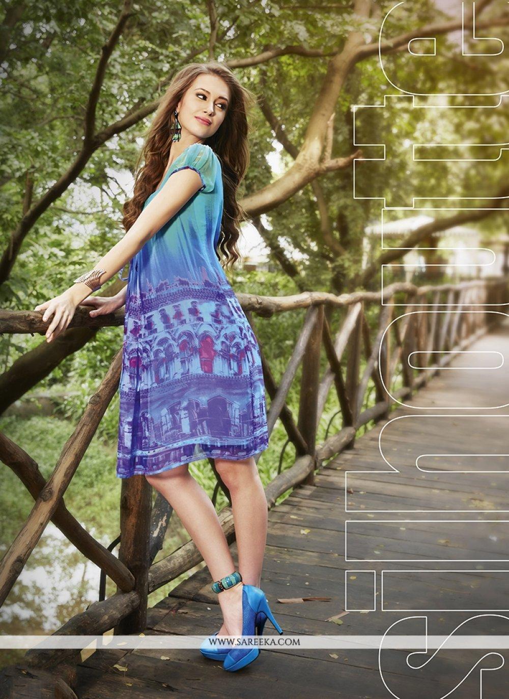 Print Work Multi Colour Georgette Party Wear Kurti