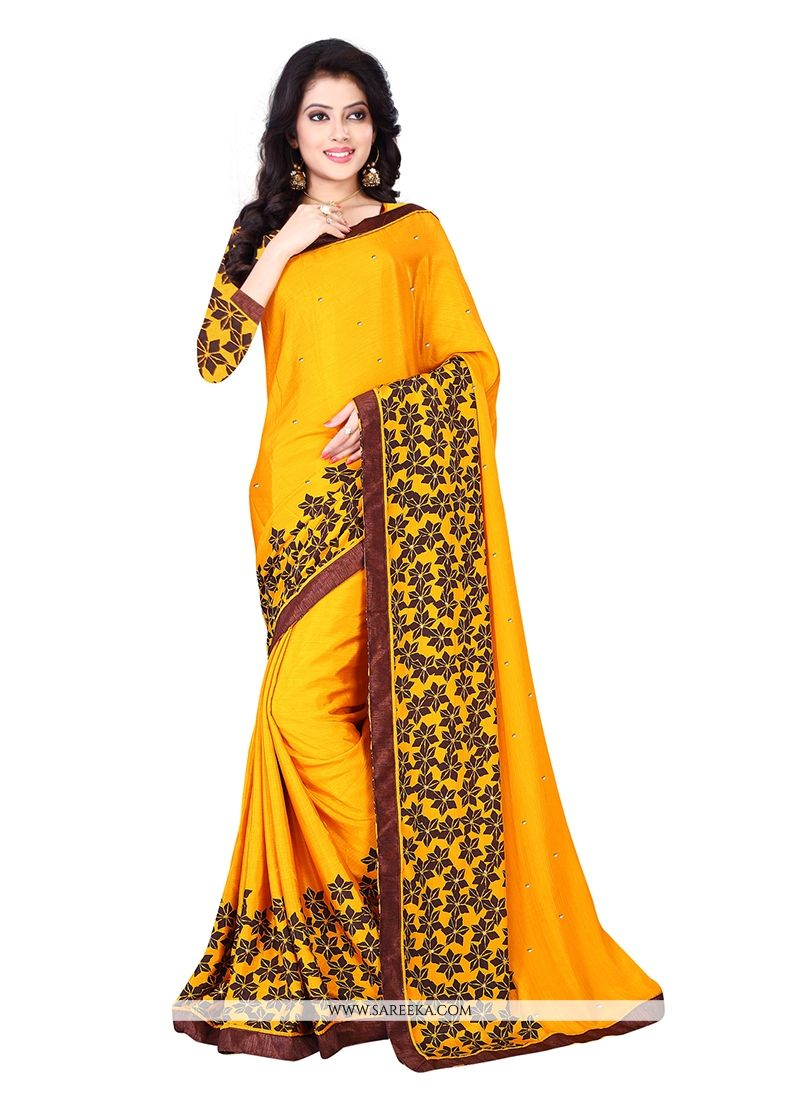 Yellow Chiffon Satin Casual Saree
