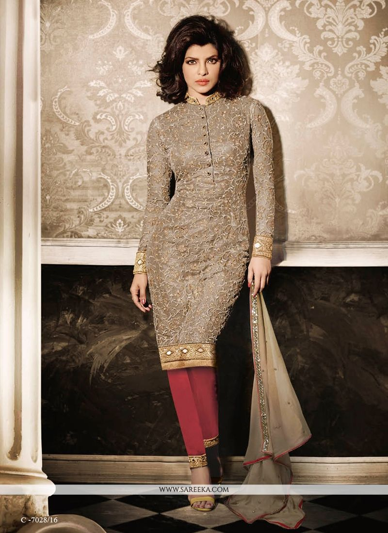 Buy priyanka chopra resham work churidar designer suit for Online suit builder