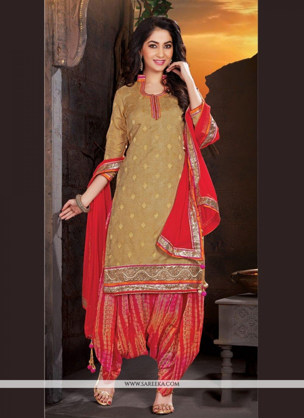 Lace Work Beige Jacquard Punjabi Suit