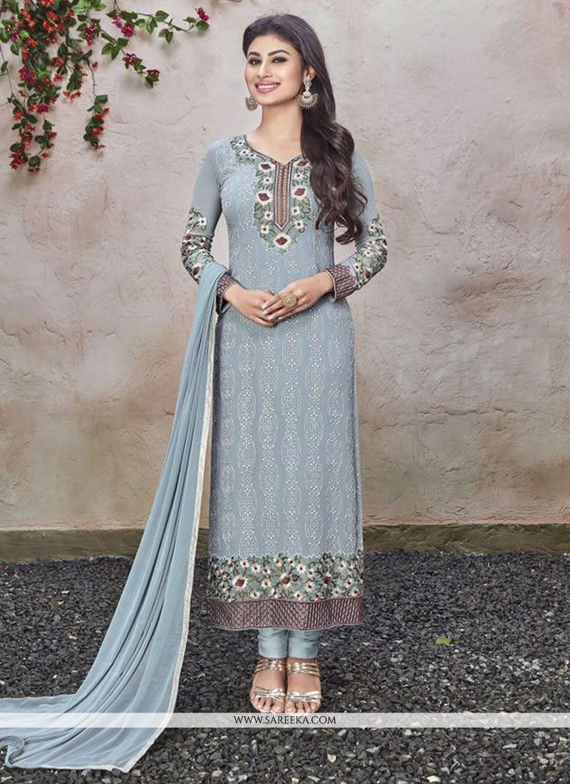 Turquoise Designer Straight Salwar Kameez
