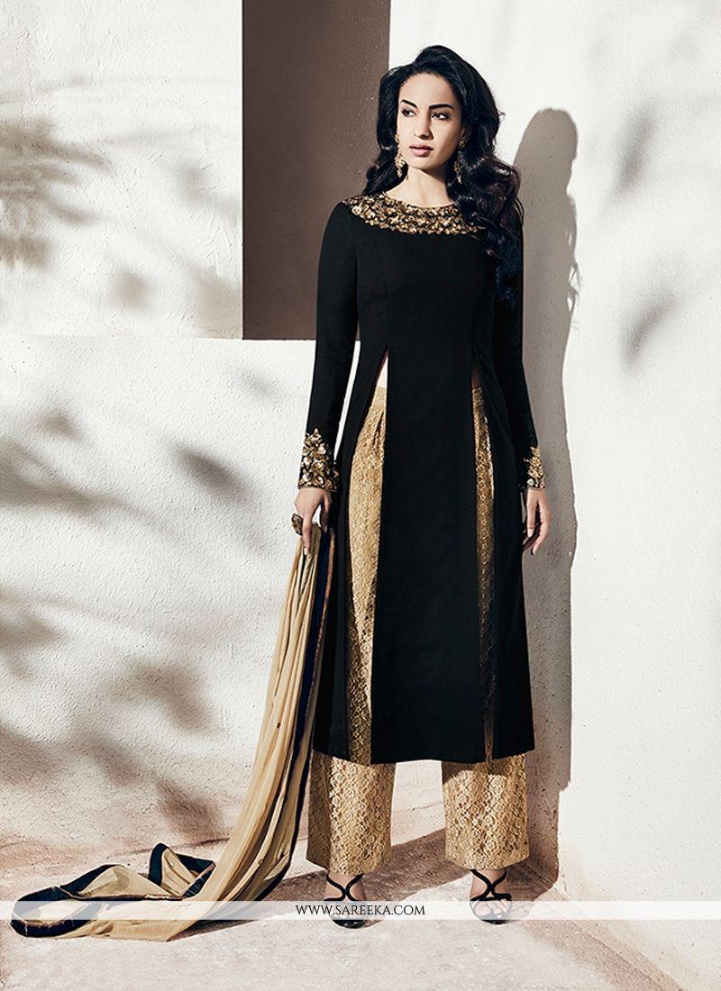 Aari Work Black Georgette Designer Suit