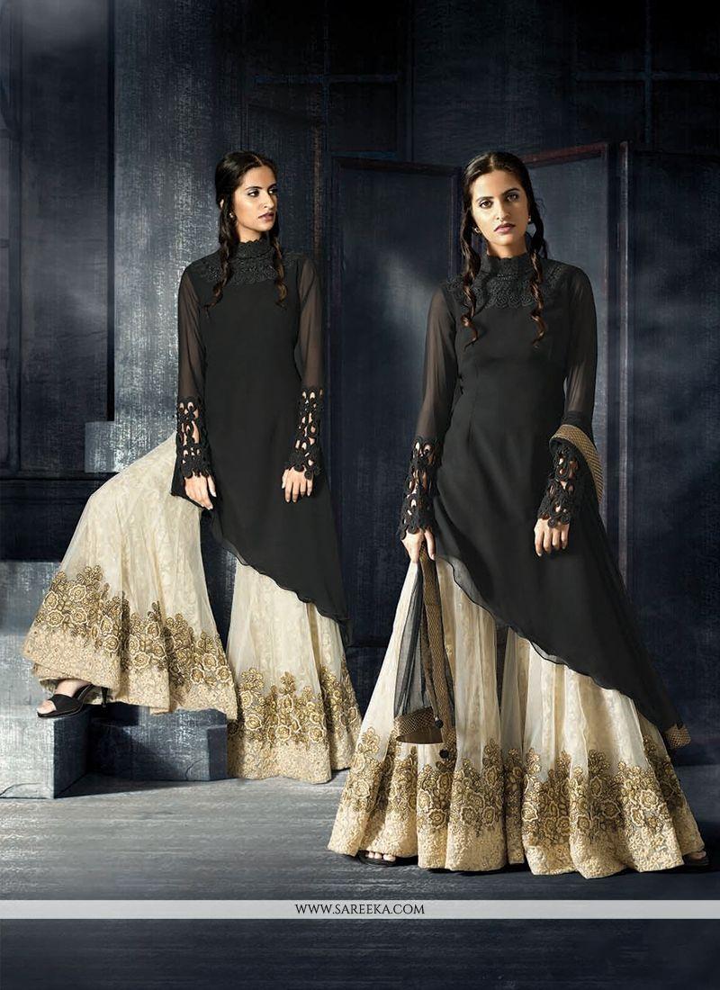 Black Embroidered Work Designer Suit