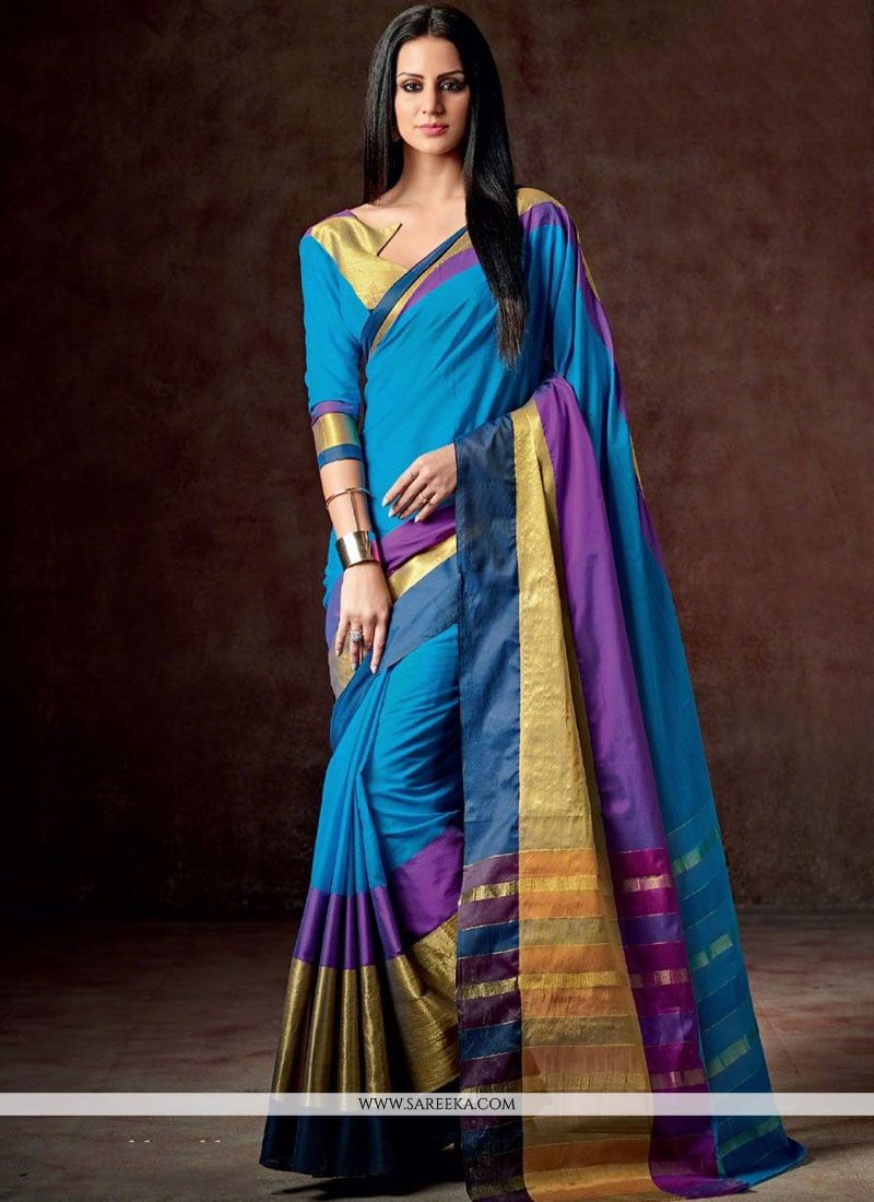 Blue Patch Border Work Casual Saree