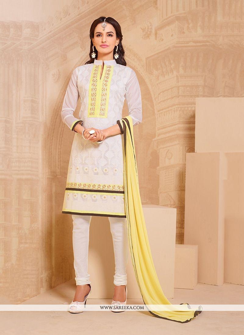 ddd646458fa Buy Cream Churidar Designer Suit Online   Indian Ethnic Wear -