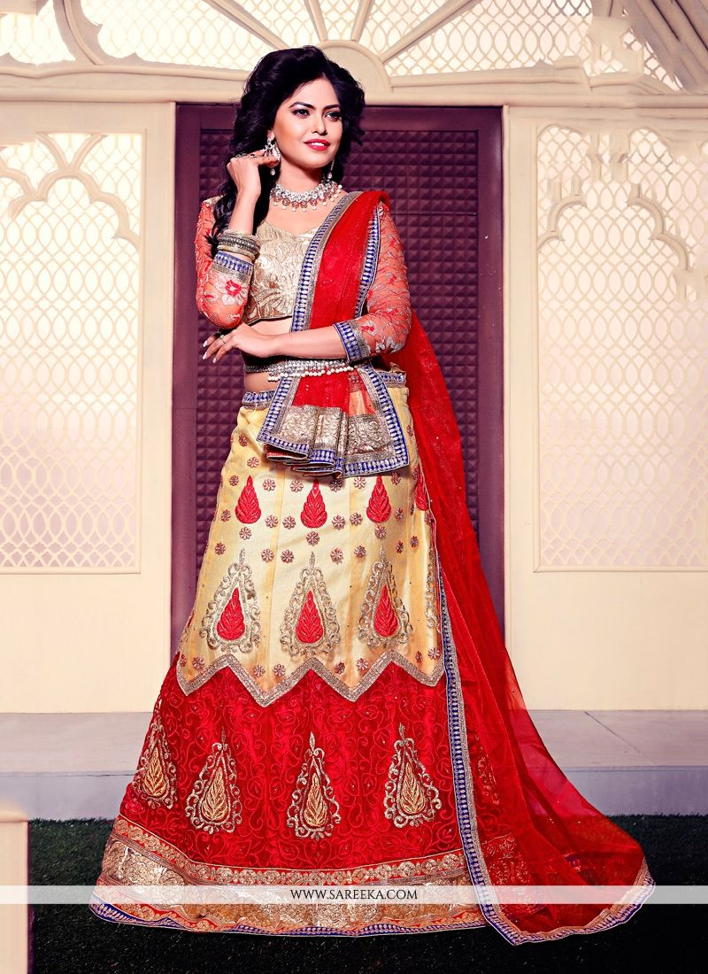 Embroidered Work Gold and Red A Line Lehenga Choli
