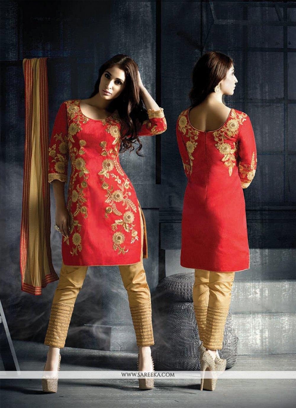 Fancy Fabric Red Designer Suit